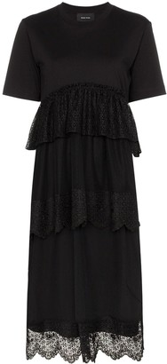 Simone Rocha lace-trim tiered midi-dress
