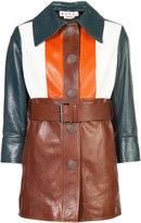 Marni colour blocked leather jacket