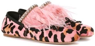 Miu Miu Feather-trimmed ballerinas
