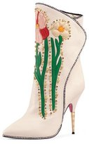 Gucci Fosca Floral-Embroidered Leather Boot