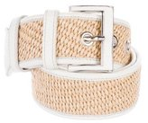 Prada Leather-Trimmed Raffia Belt