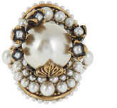 Gucci Pearl-effect embellished flower ring