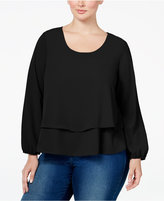ING Trendy Plus Size Tiered Top