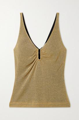 Fendi Gathered Metallic Knitted Camisole - Gold