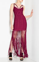 Herve Leger Nadia Lattice Draped Fringe Dress