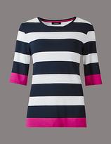 Autograph Block Striped Half Sleeve T-Shirt