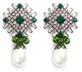 Kenneth Jay Lane Glass crystal plate faux pearl drop clip earrings