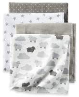 Carter's Sheep Clouds 4-Pack Blankets in Grey