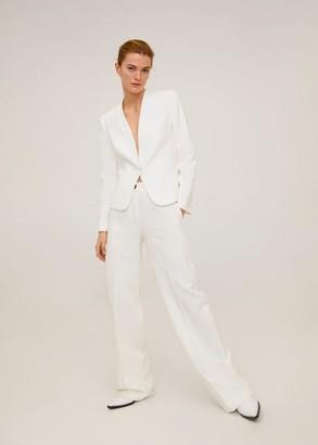 MANGO Satin collar crepe blazer black - XS - Women