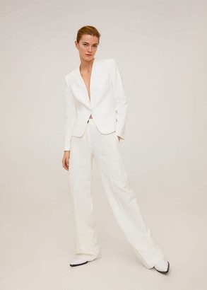 MANGO Satin collar crepe blazer off white - XS - Women