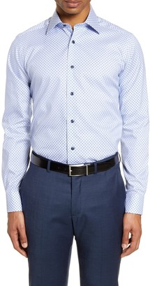 David Donahue Slim Fit Geo Floral Dress Shirt