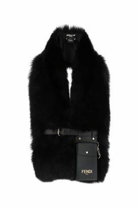 Fendi Strapped Pouch Fur Scarf