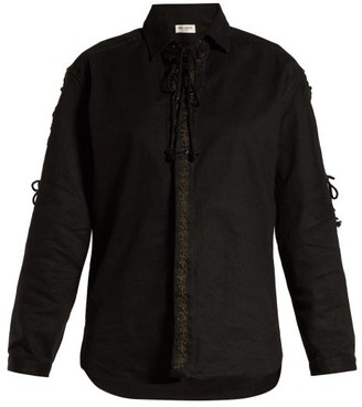 Saint Laurent Lace-up Cotton Blend-twill Shirt - Black