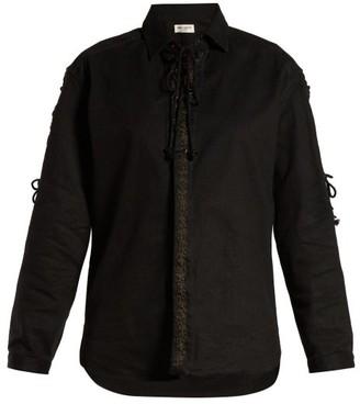 Saint Laurent Lace-up Cotton Blend-twill Shirt - Womens - Black
