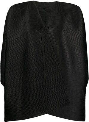 Pleats Please Issey Miyake Cape-Style Pleated Jacket