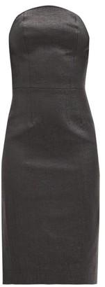 Duncan - Lady Godiva Coated-linen Bustier Dress - Black