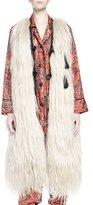 Lanvin Long Fur Vest Coat, Cream