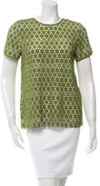Tory Burch Short Sleeve Embroidered Lace Top