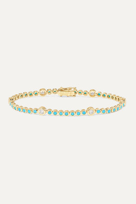 Jennifer Meyer 18-karat Gold, Diamond And Turquoise Bracelet