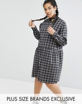 Daisy Street Plus Check Smock Dress With Embroidered Stars