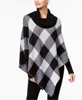 NY Collection Plaid Poncho Sweater