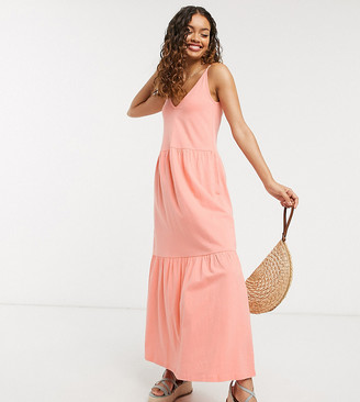 Asos DESIGN Petite Exclusive strappy tiered maxi dress in peach