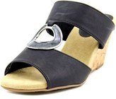 Easy Street Shoes Ever Women Open Toe Synthetic Black Wedge Sandal.