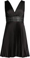 BCBGMAXAZRIA Eve Studded Empire-Waist Pleated Mini Dress