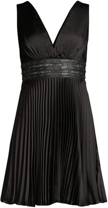 BCBGMAXAZRIA Eve Studded Empire-Waist Pleated Mini Dress