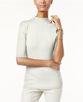 INC International Concepts Petite Mock-Neck Ribbed Sweater, Only at Macy's
