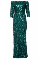 Quiz Green Sequin Bardot Front Split Maxi Dress