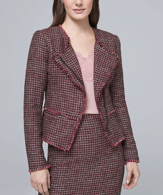 White House Black Market Women's Non-Denim Casual Jackets Roman - Roman Red & Black Mid-Century Tweed Jacket - Women