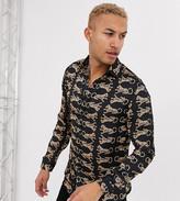 Hermano long sleeve shirt in dark navy with leopard print