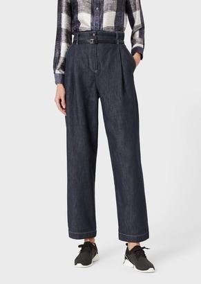 Giorgio Armani Denim-Effect Cotton And Wool Jeans