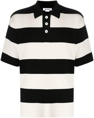 Sunnei Striped Fine-Knit Polo Shirt