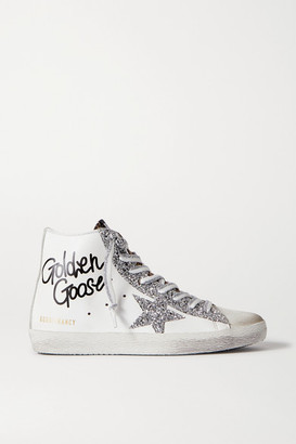 Golden Goose Francy Glittered Distressed Leather And Suede High-top Sneakers - White