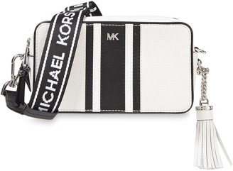 MICHAEL Michael Kors Monogram-trimmed Smooth And Pebbled-leather Shoulder Bag