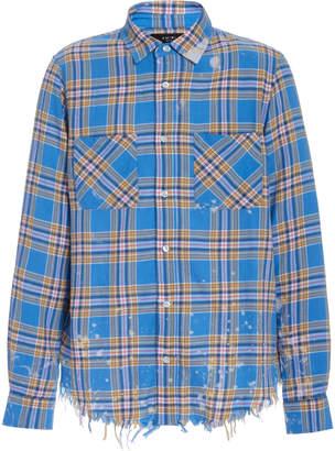 Amiri Distressed Plaid Cotton and Linen-Blend Shirt