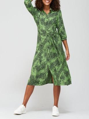 Very Three Quarter Sleeve Shirt Dress - Green Print