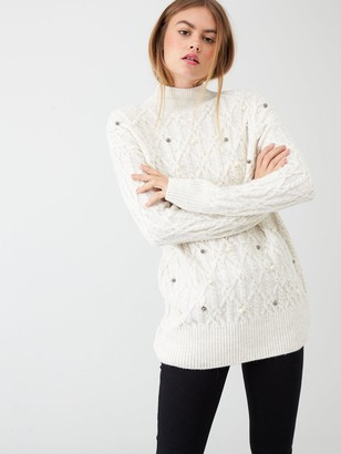 River Island Embellished Cable Knit Tunic Jumper-cream