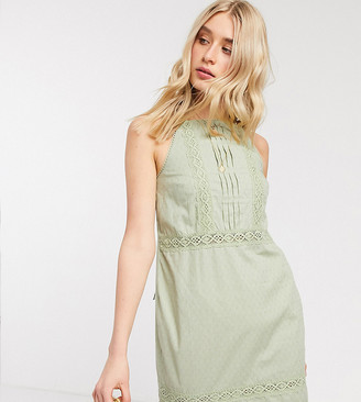 Asos Tall ASOS DESIGN Tall lace insert and dobby mini sundress in sage green