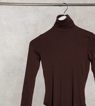 Flounce London Petite basic roll neck long sleeve body in chocolate brown