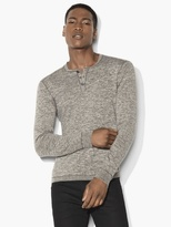 John Varvatos Henley Sweater with Stitched Details