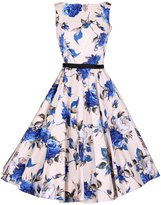 ACHICGIRL Retro Floral Print Sleeveless Design A-line Dress, XL