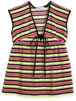 Milly Minis Marina Striped Crochet Coverup, Multicolor, Size 4-7