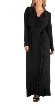 24Seven Comfort Apparel Ruffle Neckline Black Long Sleeve Plus Size Maxi Dress