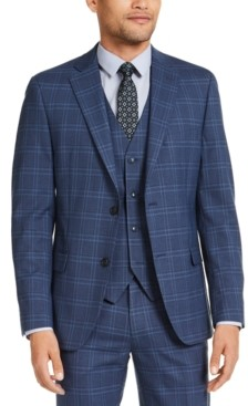 Alfani Men's Slim-Fit Stretch Navy Blue Plaid Suit Jacket, Created for Macy's