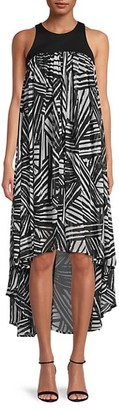 Toccin Fly-Away Printed High-Low Dress