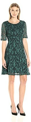 Tiana B T I A N A B. Women's Elbow Sleeves Two Tone Paisley Fit and Flare Lace Dress with Back Keyhole