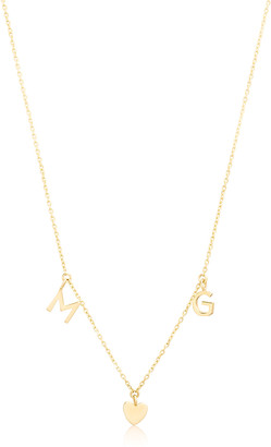 STONE AND STRAND Bold Gold Two Initial and Teeny Heart Necklace